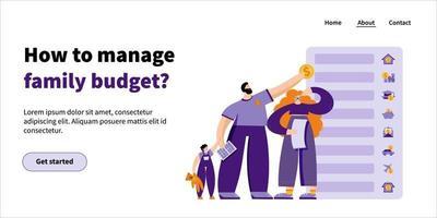 página inicial de gerenciamento de orçamento familiar vetor