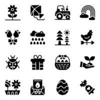 ícones de glifo de primavera vetor