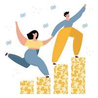 família feliz subindo na ilustração do gráfico de dinheiro vetor