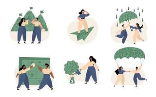 conjunto de ilustração de gestão de finanças pessoais vetor