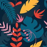 plantas tropicais em um fundo azul escuro. padrão sem emenda de vetor em estilo simples