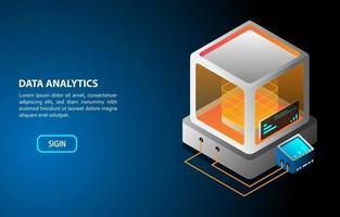 conceito de análise de dados design isométrico vetor