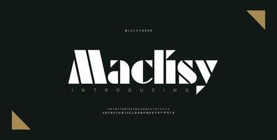 fonte e número de letras do alfabeto de luxo. letras clássicas designs de moda mínimos. tipografia elegante moderna fonte serif vetor