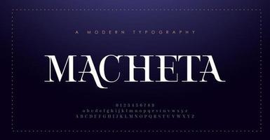 elegante alfabeto letras fonte e número. letras clássicas design de moda mínimo. tipografia moderna com serifa conceito vintage decorativo vetor