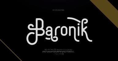 elegante alfabeto letras fonte e número. letras clássicas designs de moda mínimos. fonte serif moderna tipografia vetor