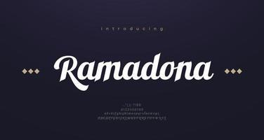 letras do alfabeto de fonte de estilo árabe. letras clássicas árabes elegantes. tipografia fontes com serifa modernas decorativas, design asiático vetor