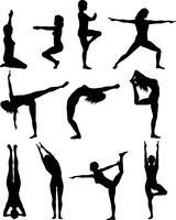 Fêmeas, em, ioga posa vetor