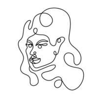 retrato abstrato de uma mulher em um estilo linear moderno. arte em linha contínua. impressão mínima da moda. ilustração vetorial vetor