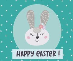 Feliz Páscoa. cartão com o coelhinho da Páscoa. o Coelho da Páscoa. ilustração vetorial vetor