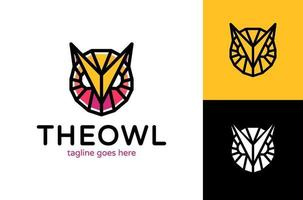 logotipo de poli de cabeça de coruja. desenho abstrato de logotipo de coruja. logotipo da coruja do vetor geométrico. ícone simples e moderno, design de modelo