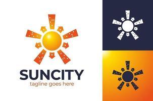 logotipo da Sun City. sol sobre o modelo de vetor de design de logotipo de cidade de arranha-céus de paisagem urbana. ícone de conceito do logotipo de construção de arquitetura imobiliária.