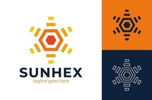 logotipo de vetor da engrenagem do hexágono do sol. sol moderno da manhã criativa com modelo de design de logotipo de engrenagem.