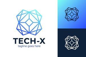 logotipo da letra x da tecnologia. inovar tecnologia iccon azul, modelo de logotipo de vetor tecnológico abstrato.