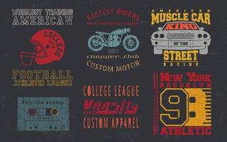 design vintage impressão para carimbo de t-shirt, t-shirt apliques, tipografia de moda, crachá, etiqueta de roupas, jeans e casual wear. ilustração vetorial vetor