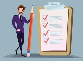 empresário segurando o lápis na grande lista de verificação completa com marcas de escala. organização empresarial e realizações do conceito de vetor de objetivos. lista de verificação com marca de seleção, empresário com questionário