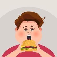 cara gordo está comendo um hambúrguer grande. ilustração vetorial. vetor