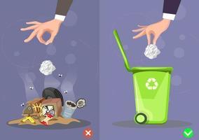 não jogue pontas de lixo no chão, certo e errado. ilustração vetorial. vetor