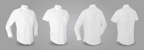 camisa masculina branca com mangas compridas e curtas e botões na frente, vista traseira e lateral, isolada em um fundo cinza. Ilustração em vetor 3D realista, camisa formal ou casual padrão