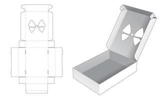 caixa dobrável de lata com molde de estêncil de arco vetor