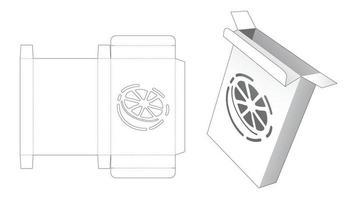 caixa de lata simples com molde de estêncil em forma de limão cortado vetor