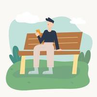 um homem está sentado em um banco de parque e olhando para um telefone celular. ilustração em vetor mínimo estilo design plano.
