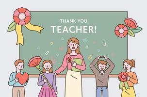 evento de agradecimento comemorativo do dia do professor e jovens alunos e professores estão em frente ao quadro-negro segurando flores vetor
