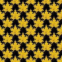 folhas de bordo dourado amarelo sem costura pattern.beautiful outono padrão com folhas caídas em um fundo preto background.colorful outono. ilustração vetorial em estilo simples para papel, têxtil, impressão vetor