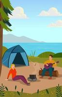 casal romântico acampando perto do rio vetor