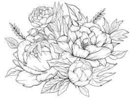 página para colorir com peônias e folhas. página de vetor para colorir. página para colorir de flores. estampa floral. peônias de contorno. página em preto e branco para livro de colorir.