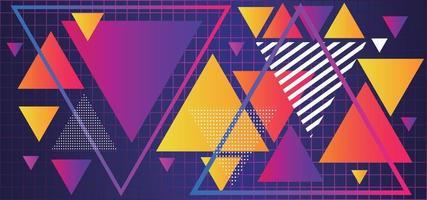 triângulos coloridos abstratos com padrões e gradientes em uma grade de fundo dos anos 80 vetor