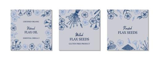 conjunto de quadros de linho desenhados à mão. ilustração vetorial no estilo de desenho para sementes de linho e embalagens de óleo vetor