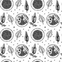 mão desenhada sem costura teste padrão com tigelas de quinua. ilustração vetorial em estilo de desenho vetor