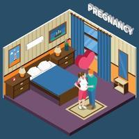 ilustração em vetor gravidez composição isométrica