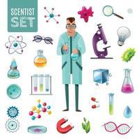 ilustração vetorial conjunto de desenhos animados de ícones de ciência vetor