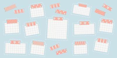 folha de papel de maquete quadrada de grade vetorial com fita adesiva washi vetor
