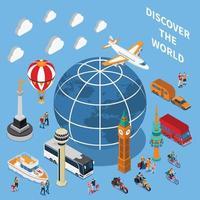 ilustração em vetor composição isométrica de descobertas turísticas