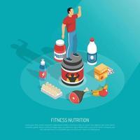 ilustração em vetor cartaz isométrico fitness suplementos nutricionais