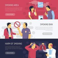 Fumar riscos para a saúde ilustração vetorial de banners horizontais vetor