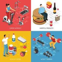 ilustração em vetor fitness esporte nutrição conceito isométrico