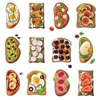 ilustração vetorial conjunto de desenhos animados de sanduíches vetor