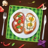 sanduíches no prato ilustração rústica ilustração vetorial vetor
