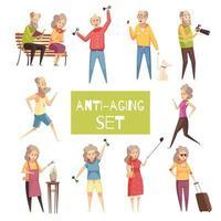 conjunto de ícones anti envelhecimento vetor
