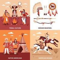 ilustração em vetor conceito design 2 x 2 nativos americanos