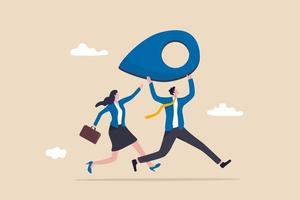 realocação de negócios, movendo o escritório para o novo conceito de endereço de localização, feliz empresário e mulher de negócios carregam pino de endereço ou marca de mapa em execução para o novo destino. vetor