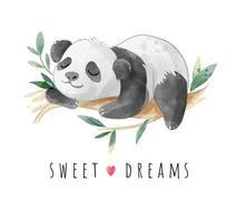 slogan de sonho doce com ilustração do panda dormindo vetor