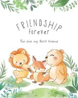 animais fofos amizade caminhada ilustração vetor