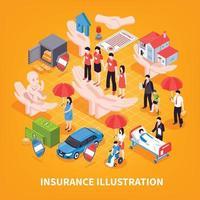 ilustração vetorial isométrica de seguro vetor