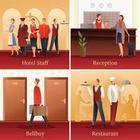 ilustração em vetor hotel pessoas composições planas