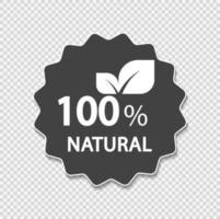 Rótulo 100% natural. ilustração vetorial. vetor