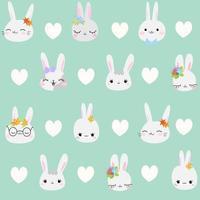 padrão pastel verde fofo com tecidos de corações de coelhos cinza para crianças álbum de recortes de papel para crianças vetor